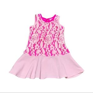 Baker by Ted Baker Pink Lace Overlay Dress 2T